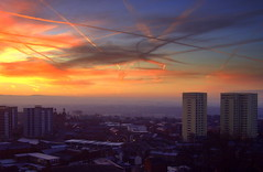 Preston Sunrise - lines in the sky (Tony Worrall) Tags: uk morning blue red england sky sun color beautiful beauty lines sunrise buildings fire dawn nice glow colours northwest scenic sunny scene lancashire trail vista preston glowing serene earl chemtrails firey reddawn ©2012tonyworrall prestonsky
