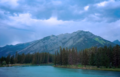 Bow River, Banff (AR_the old guy) Tags: blue trees sky canada mountains film clouds 35mm rockies pentax negative alberta scanned adjusted vermilionlake espio145m