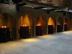 Floating dinner setup in the alcove (The Foundry L.I.C.) Tags: cocktails archways thefoundry alcoves roundtables thefoundryinterior cocktailtables thefoundrylic