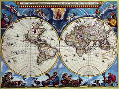 Antique Maps (divinumphoto) Tags: map antiquemapsoftheworld doublehemispheremap joanblaeu c1662