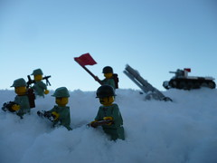 Snow charge (Rebla) Tags: winter snow lego wwii ww2 russian fp charge forcedperspective bt5