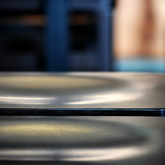 (SteffenTuck) Tags: morning blue light blur breakfast reflections cafe bokeh timber interior melbourne edge softfocus inside stools sheen birdmaneating steffentuck