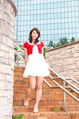 day239-21 red mini cardigan & white race onepiece (Yumiko Misaki) Tags: red white race mini crossdressing transgender transvestite crossdresser cardigan day232 day238 day239 transsexsual lodispotto opepiece