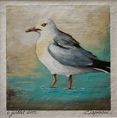 6 juillet 2015 -July 6, 2015 (marieclaprood) Tags: art illustration painting acrylic canvas acrylicpainting marieclaprood dailypainting smallpainting originalart artoncanvas bird seagull sea seabird