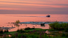 Heading for the Harbor (imageClear) Tags: northpoint sheboygan wisconsin nature evening sunset reflection lakeshore pink orange aperture nikon d600 80400mm imageclear flickr photostream