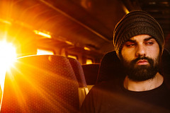 Prague - 1. Good morning (?) (Benji :D) Tags: train international tired exhausted sunrise sun warm 2016 burst face portrait confused golden seated sat window