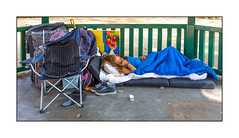 Homeless Woman, East London, England. (Joseph O'Malley64) Tags: homeless homelesswoman eastlondon eastend london england uk britain british greatbritain woman vulnerable bereft onthestreet roughsleeper roughsleeping dispossessed atrisk bandstand possessions belongings capitalcity city financialcentre financialdiscrict