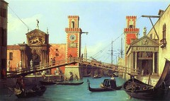 Canaletto - private collection. View of the Entrance to the Arsenal (c. 1732) (lack of imagination) Tags: 10001500 blog boats bridge buildings canaletto cityscape gondolas harbor people privatecollection