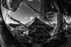 Tibetan prayer flags (B&W version) (Tonnaja Anan Charoenkal) Tags: china bw flag faith prayer tibet shangrila monastery tibetan yunnan