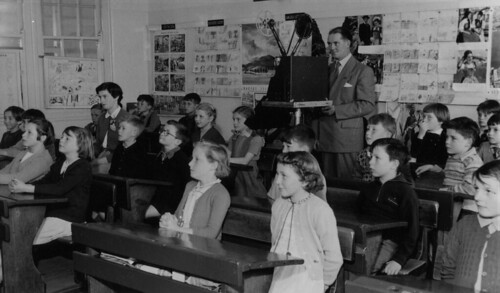 Teacher, Grade 3, showing film, 1954 by Public Record Office Victoria, on Flickr