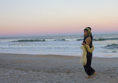 (Kyra Rosa Photographer) Tags: sunset sky black beach gold necklace sand waves vibrant egypt style jewelry diana egyptian earrings morel sheer blackdress headpiece jewelrey egyptianstyle