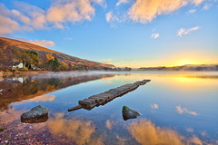 Misty Dawn over Loch Ard (PeterYoung1.) Tags: uk blue light sky sun lake color nature water clouds sunrise canon landscape scotland europe scenic atmospheric ard lochard kinlochard