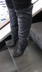 Changing boot length in shopping mall (Rosina's Heels) Tags: leather high boots thigh heel stiletto overknee