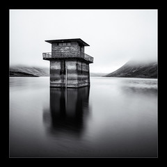 Fortress (scott masterton) Tags: travel light white black tower tourism scott square mono scotland long exposure solitude control very pentax sigma glen reservoir loch solitary fortress crieff turret hermit fascinating refuge masterton reclusive seclusion nd400 vle k30 1750mm ndx400
