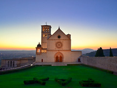 PAX, Peace at St. Francis of Assisi at sunset, Italy (Sir Francis Canker Photography ) Tags: sanfrancisco italien blue light sunset italy art heritage tourism luz church colors rose architecture bells wonder twilight arquitectura perfect europe long exposure italia european order arte cross symbol dusk basilica religion gothic culture iglesia nopeople landmark icon tourist medieval belltower unesco chiesa campanile bluehour catholicism romanesque medievale architettura assisi italie gem perfection umbria parvis touristic romanico franciscan gotic