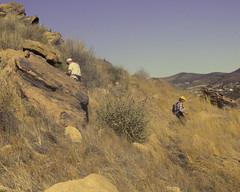 039 Dashing In And Dashing Out (saschmitz_earthlink_net) Tags: california boulder orienteering runner 2012 rockformation aguadulce vasquezrocks losangelescounty laoc sharonking losangelesorienteeringclub