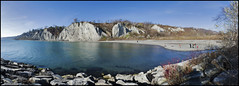 Scarborough Bluffs Afternoon Panorama (mmmighty_atom) Tags: family cliff lake toronto ontario water cliffs scarborough bluffs d700 1424mm