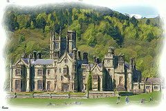 Margam castle (Patricia Speck) Tags: trees people sunlight castle landscape shadows tricia patricia speck digitaloilpainting mygearandme margamcastleswalesuk