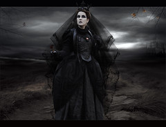 Dark Bride... (Takis Poseidon (RL busy...)) Tags: trees sky texture girl rose photomanipulation photoshop butterfly dark gothic romantic deadrose photomanipulate