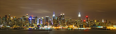 New York City Manhattan skyline panorama at night over Hudson River with refelctions viewed from New Jersey (Mikhail Kusayev) Tags: life new york city nyc blue sky urban panorama usa newyork building tower water skyline architecture modern night america skyscraper buildings river evening pier office twilight downtown cityscape skyscrapers state outdoor dusk manhattan district united towers wideangle landmark panoramic illuminated clear nighttime edge empire metropolis hudson tall chrysler