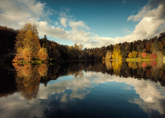 Autumn at Stourhead (Explore #1) (martinturner) Tags: uk autumn trees england sky lake colour heritage water beautiful gardens clouds reflections rich national stourhead trust ripples wiltshire autumnal martinturner henryhoare