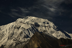 Under the moon... (Usman Hayat) Tags: moon mountain snow night start photography nikon long exposure peak nikkor rakaposhi 70200 hayat diran d800 usman uhayat