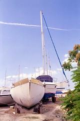 Boats Ashore (Jackobo) Tags: blue sky cloud plant boats athens greece mast