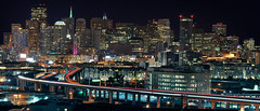 San Francisco (Matt Granz Photography) Tags: sanfrancisco california panorama skyline night downtown skyscrapers panoramic freeway