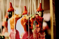 Pinocchio x 3 (Widzę kadry) Tags: christmas red december puppet poland christmasmarket warsaw pinocchio marionette pinokio grudzień warsawoldtown