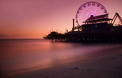 Santa Monica (Brian Koprowski) Tags: california longexposure sunset beach cali evening la pier sand pentax santamonica pacificocean ferriswheel amusementpark santamonicapier westcoast ndfilter silkysmooth 10stops pentaxk5 briankoprowski bkoprowski