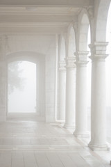 Fog at Swannanoa on Afton Mountain in Virginia (Busy Me) Tags: old white house abstract black detail building art texture home glass lines rock stone wall architecture facade vintage concrete design construction pattern exterior estate floor roman antique decorative background grunge details pillar decoration perspective smooth style surface structure porch strong classical block column aged marble luxury blueridgeparkway afton elegance skylinedrive swannanoa laorussell