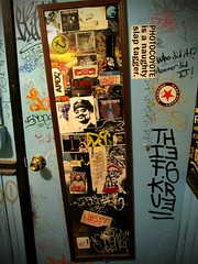 STICK THE MIRROR! (Photocoyote) Tags: seattle usa streetart mirror thankyou stickers easystreetrecords westseattle restroom pacificnorthwest washingtonstate slaps stayalive theemeraldcity theevergreenstate photocoyote