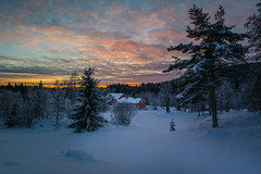 Smallholding in the Forest (Bangern) Tags: winter sunset sky house snow color tree oslo norway clouds forest afternoon samsung freshsnow nordmarka smallholding lrenskog nx210