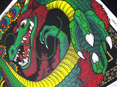 "FENGHUANG & DRAGON ""DARKNESS & LIGHT"" 12 x 24"" - 6 Color Ltd Ed Screen Print @ Gumball Designs - Dragon Close (Gumball Designs) Tags: bird art print dragon reptile beak feathers horns screen lizard karate yang scales kungfu oriental yin fenghuang pheonix cinese"