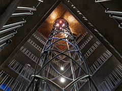 Elevator Shaft (Greg Annandale) Tags: travel tower metal canon spiral lights amazing europe lift czech prague interior elevator odd metalwork czechrepublic townhall helix oldtown bizarre 1740 astronomicalclock astronomical liftshaft oldtownhall oldtower hlavnmstopraha canon5dmkii canon5dmk2