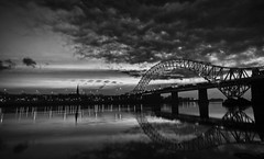 DSC02433-Edit b&w (DSLR Lee) Tags: bridge light sunset sky cloud water night clouds dark landscape cheshire nightime waters waterside mersey runcorn merseyside widnes runcornbridge