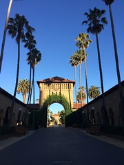 Stanford Archway (niecollemarie) Tags: archway stanford stanforduniversity california nature palmtrees shadow sun sunrise blue sky