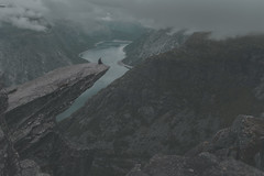 (ystein Aspelund) Tags: travel landscape nature cliff cliffhanger vertical drop togetheralone nordic mountains norway trolls tongue trolltunga trekking