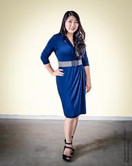 Model Lily Yang (Tex Texin) Tags: model girl female portrait blue dress lily yang brunette exposure casting call belt heels fullbody curvy