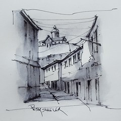 Porto Portugal Alley (Peter Sheeler) Tags: video youtube youtubers landscape art original watercolor winsorandnewton watercolour painting paintingaday penandink architecture ink moleskinearts canada blackandwhite porto portugal alley lamy arches