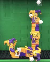 J (Laurene J.) Tags: lego bricksbythebay bbtb2016 minifigurealphabet minifigure minifigs legoalphabet alphabet pilobolusalphabet pilobolus lettering bbtb 2016 bricksofcharacter jester juggler joker