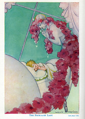 The Rock-A-By Lady with poppies (katinthecupboard) Tags: vintagechildrensillustrations vintagechildrensbooks vintagechildrenspoetry poems illustratedbywillypogany poganywilly lullaby poppies bedtime