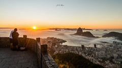 Sunrise | Mirante Dona Marta (Jos Eduardo Nucci) Tags: southamerica brazil sunrise sugarloaf landscape mirantedonamarta guanabarabay people cityscape riodejaneiro nature tropical environment atmosphere nikon 1424mm d800 joseduardonucci nikkor flickr rio450anos flamengo botafogo beach cloudscape sky golden sunlight sunny rays black dark yellow getty instagram favorite trip travel photography water world love peace colors sunset harmony seascape christtheredeemer blue mood glow