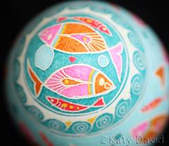 Fish Traffic (Katy David Art) Tags: pink blue turquoise orange white spirals fish traffic pysanka pysanky batik eggshell chicken egg art fine folk wax beeswax aniline dye resist
