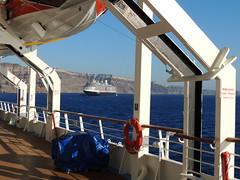 Holland America Lines' 'Eurodam' cruise ship, Santorini (Thira), Greece (from the 'Celestyal Nefeli' cruise ship) (Steve Hobson) Tags: holland america lines eurodam cruise ship celestyal nefeli santorini thira fira greece