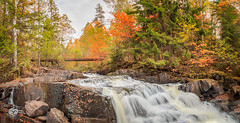 leaves are leaving (Geert Weggen) Tags: sweden geert tree pine plant nature landscape birch high forest ground branch light red water reflect rock waterfall river fall autumn art bridge leaves panorama weggen jmtland ragunda