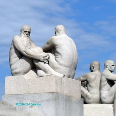 """Two Old Men"" 1919 (Christopher M Dawson) Tags: old men viking baltic scandinavia homelands travel international foreign tourism adventure history scenery art architecture europe ©2016cmdawson nikon norway oslo capital city sculpture vigeland frogner park frognerparken thorsen statue"