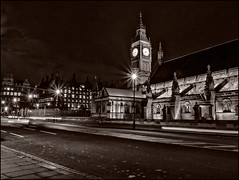 366-311 Parliamentary Evening (Darren Wilkin) Tags: london westminster oneaday night mono parliament bigben clockfaces 366