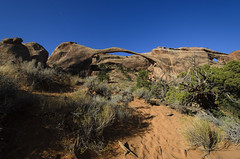 Foot Prints On the Trail - Navajo Partition and Landscape Arches (rschnaible) Tags: park blue red sky usa southwest west rock landscape utah us sand sandstone day desert hiking sandy scenic sunny arches scene hike clear trail national western nrpad