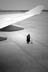 Boeing 747 (Alan Avon) Tags: china bw canon airplane airport shanghai police pudong boeing747 747 biancoenero pudongairport